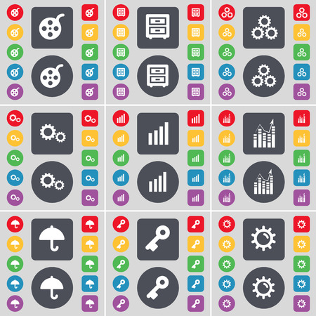 videotape: Videotape, Bed-table, Gear, Diagram, Graph, Umbrella, Key icon symbol. A large set of flat, colored buttons for your design. Vector illustration