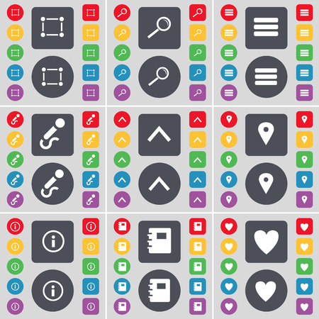 notebook design: Frame, Magnifying glass, Apps, Microphone, Arrow up, Checkpoint, Information, Notebook, Heart icon symbol. A large set of flat, colored buttons for your design. Vector illustration Illustration