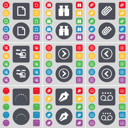 arrow right: File, Binoculars, Clip, Helicopter, Arrow right, Arrow left, Stars, Inkpen, Cassette icon symbol. A large set of flat, colored buttons for your design. Vector illustration