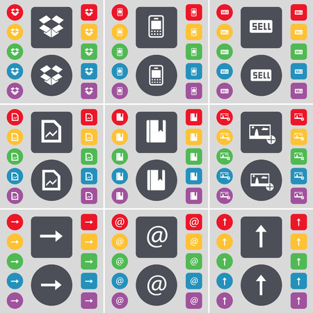 arrow right: Dropbox, Mobile phone, Sell, Graph file, Dictionary, Picture, Arrow right, Mail, Arrow up icon symbol. A large set of flat, colored buttons for your design. Vector illustration Illustration