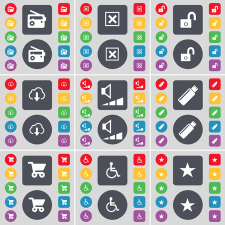 disabled person: Radio, Stop, Lock, Cloud, Volume, USB, Shopping cart, Disabled person, Star icon symbol. A large set of flat, colored buttons for your design. Vector illustration