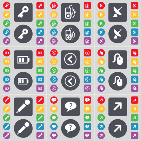 mp3 player: Key, MP3 player, Satellite dish, Battery, Arrow left, Mouse, Microphone, Chat bubble, Full screen icon symbol. A large set of flat, colored buttons for your design. Vector illustration