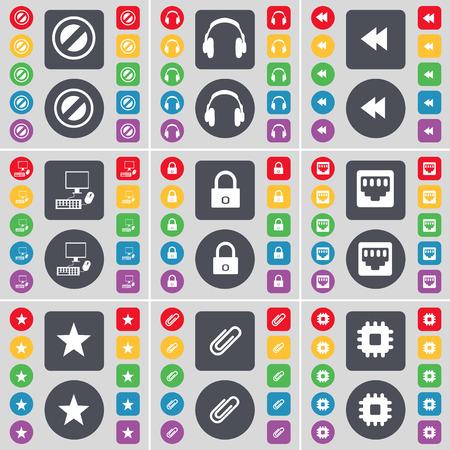 red lan: Pare, Auriculares, Rewind, PC, z�calo Lock, LAN, Estrella, Clip, icono procesador s�mbolo. Un gran conjunto de planos botones, colores para su dise�o. Ilustraci�n vectorial