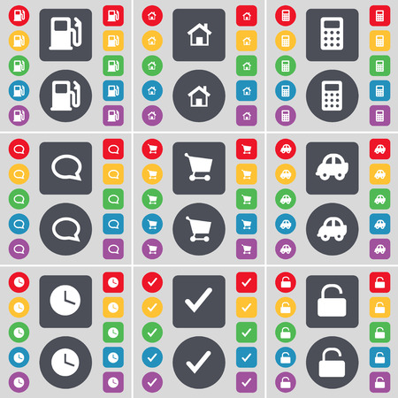 chat bubble vector: Gas station, House, Calculator, Chat bubble, Shopping cart, Car, Clock, Tick, Lock icon symbol. A large set of flat, colored buttons for your design. Vector illustration