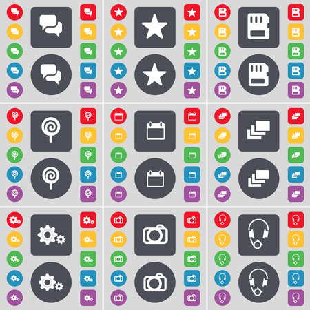 sim card: Chat, Star, SIM card, Lollipop, Calendar, Gallery, Gear, Camera, Headphones icon symbol. A large set of flat, colored buttons for your design. Vector illustration