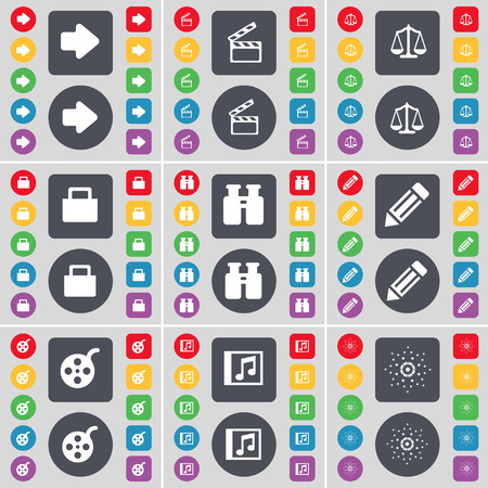 videotape: Arrow right, Clapper, Scales, Lock, Binoculars, Pencil, Videotape, Music window, Star icon symbol. A large set of flat, colored buttons for your design. Vector illustration