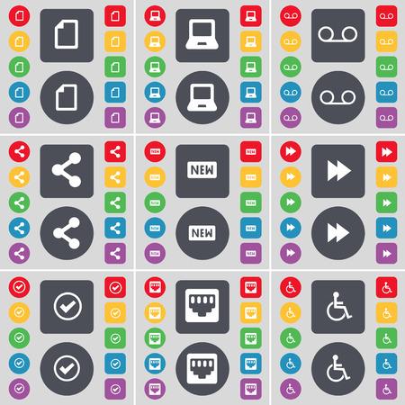 personne handicap�e: Fichier, Ordinateur portable, cassette, Partager, Nouveau, Rewind, Tick, prise LAN, handicap�s symbole de l'ic�ne. Un vaste ensemble de plats, des boutons de couleur pour votre conception. Vector illustration Illustration