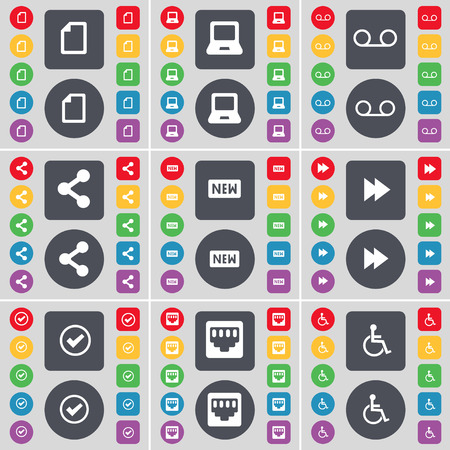 file share: File, Laptop, Cassette, Share, New, Rewind, Tick, LAN socket, Disabled person icon symbol. A large set of flat, colored buttons for your design. Vector illustration