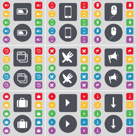 arrow down icon: Battery, Smartphone, Mouse, Window, Fork and knife, Megaphone, Suitcase, Media play, Arrow down icon symbol. A large set of flat, colored buttons for your design. Vector illustration Illustration