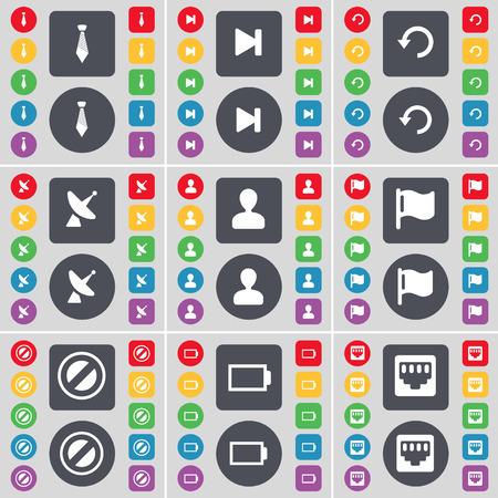 red lan: Corbata, Medios saltar, Reload, Parab�lica, Avatar, Bandera, Stop, Bater�a, LAN icono socket s�mbolo. Un gran conjunto de planos botones, colores para su dise�o. Ilustraci�n vectorial