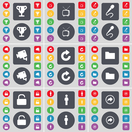 folder lock: Cup, Retro TV, Microphone, CCTV, Reload, Folder, Lock, Silhouette, Back icon symbol. A large set of flat, colored buttons for your design. Vector illustration Illustration