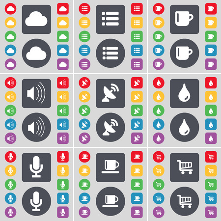 satellite dish: Cloud, List, Cup, Sound, Satellite dish, Drop, Microphone, Shopping cart icon symbol. A large set of flat, colored buttons for your design. Vector illustration Illustration
