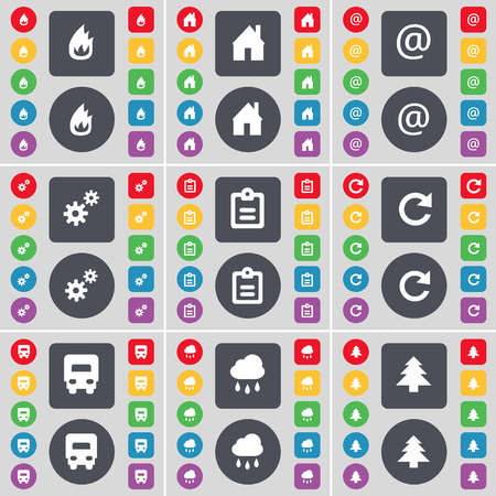 mail truck: Fire, House, Mail, Gear, Survey, Reload, Truck, Cloud, Firtree icon symbol. A large set of flat, colored buttons for your design. Vector illustration