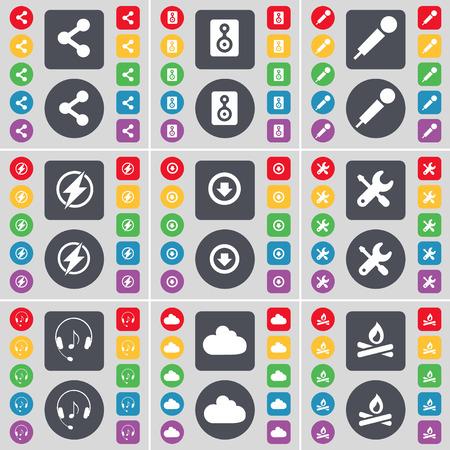 freccia giù: Condividi, altoparlante, microfono, Flash, Freccia gi�, Chiave inglese, cuffie, Nube, icona Campfire simbolo. Un grande insieme di piatti, pulsanti colorati per il vostro disegno. Illustrazione vettoriale