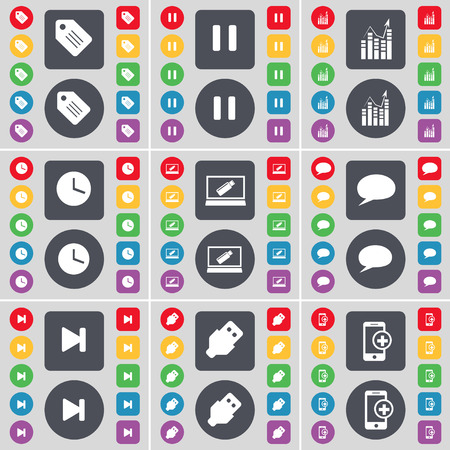 skip: Tag, Pause, Graph, Clock, Laptop, Chat bubble, Media skip, USB, Smartphone icon symbol. A large set of flat, colored buttons for your design. Vector illustration