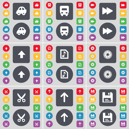 arrow up: Car, Truck, Rewind, Arrow up, Music file, Lens, Scissors, Arrow up, Floppy icon symbol. A large set of flat, colored buttons for your design. Vector illustration