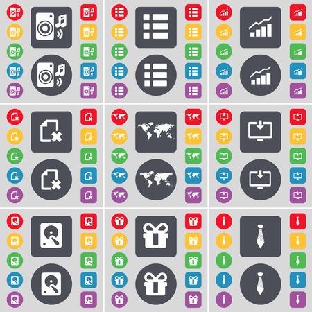 lazo regalo: Altavoz, Lista, Gráfico, Archivo, Globo, monitor, unidad de disco duro, regalo, lazo icono de símbolo. Un gran conjunto de planos botones, colores para su diseño. Ilustración vectorial Vectores