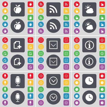 freccia giù: Apple, RSS, Nube, File, Freccia gi�, informazione, Microfono, icona Orologio simbolo. Un grande insieme di piatti, pulsanti colorati per il vostro disegno. Illustrazione vettoriale