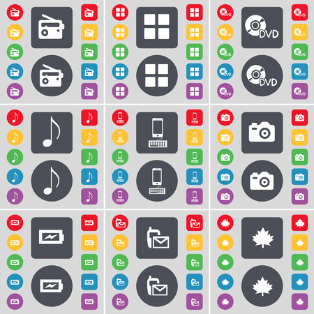 maple leaf icon: Radio, Apps, DVD, Note, Smartphone, Camera, Charging, SMS, Maple leaf icon symbol. A large set of flat, colored buttons for your design. Vector illustration Illustration