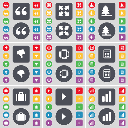 full screen: Quotation mark, Full screen, Firtree, Dislike, Smartphone, Calculator, Suitcase, Media play, Diagram icon symbol. A large set of flat, colored buttons for your design. Vector illustration