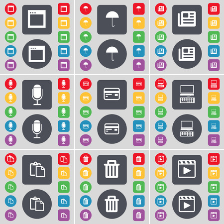 media player: Window, Umbrella, Newspaper, Microphone, Credit card, Laptop, Survey, Trash can, Media player icon symbol. A large set of flat, colored buttons for your design. Vector illustration