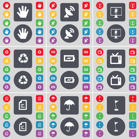 satellite tv: Hand, Satellite dish, Monitor, Recycling, Charging, Retro TV, Text file, Umbrella, Golf hole icon symbol. A large set of flat, colored buttons for your design. Vector illustration Illustration
