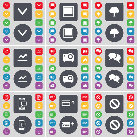 arrow down: Arrow down, Window, Tree, Graph, Projector, Chat, SMS, Cassette, Stop icon symbol. A large set of flat, colored buttons for your design. Vector illustration Illustration
