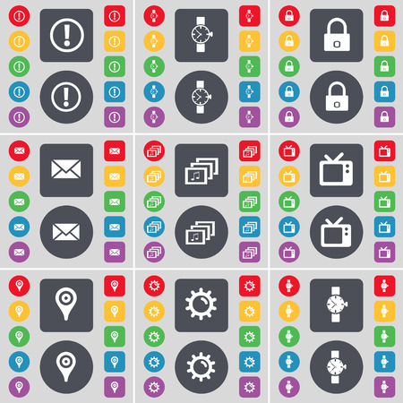 watch tv: Information, Wrist watch, Lock, Message, Gallery, Retro TV, Checkpoint, Gear icon symbol. A large set of flat, colored buttons for your design. Vector illustration