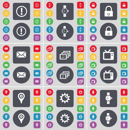 orologio da polso: Informazione, Orologio da polso, blocco, Messaggio, Galleria, Retro TV, il Checkpoint, ingranaggi icona simbolo. Un grande insieme di piatti, pulsanti colorati per il vostro disegno. Illustrazione vettoriale