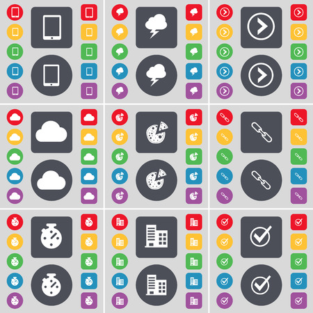 lightning arrow: Tablet PC, Lightning, Arrow right, Cloud, Pizza, Link, Stopwatch, Building, Tick icon symbol. A large set of flat, colored buttons for your design. Vector illustration