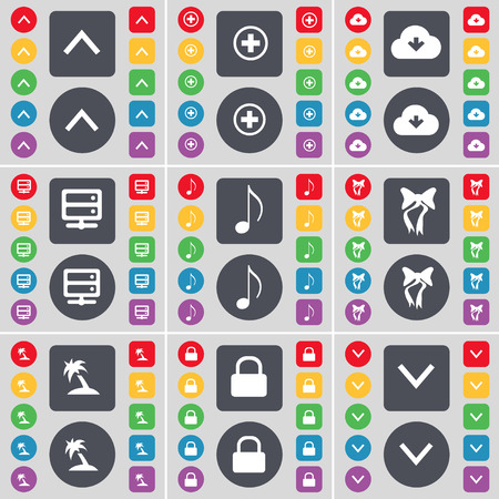 lock up: Arrow up, Plus, Cloud, Server, Note, Bow, Palm, Lock, Arrow down icon symbol. A large set of flat, colored buttons for your design. Vector illustration Illustration
