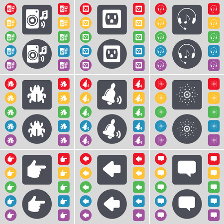 chat bubble: Speaker, Socket, Headphones, Bug, Bell, Star, Hand, Arrow left, Chat bubble icon symbol. A large set of flat, colored buttons for your design. Vector illustration