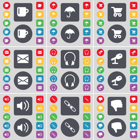 sound card: Cup, Umbrella, Shopping card, Message, Headphones, Microphone, Sound, Link, Dislike icon symbol. A large set of flat, colored buttons for your design. Vector illustration