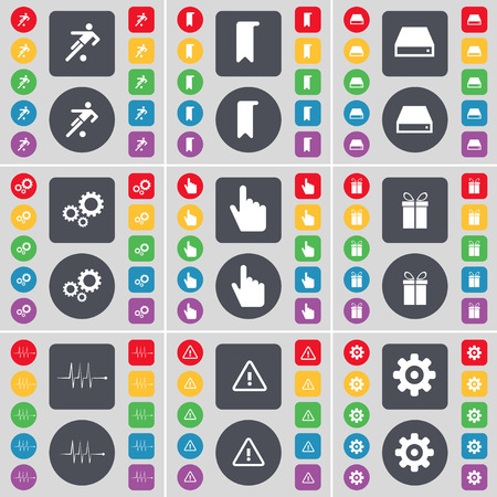 hard drive: Football, Marker, Hard drive, Gear, Hand, Gift, Pulse, Warning, Gear icon symbol. A large set of flat, colored buttons for your design. Vector illustration