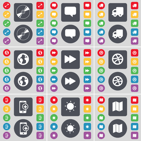 earth map: Disk, Chat bubble, Truck, Earth, Rewind, Ball, Smartphone, Light, Map icon symbol. A large set of flat, colored buttons for your design. Vector illustration