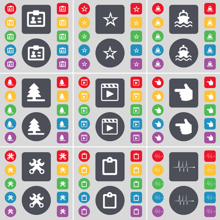 media player: Contact, Star, Ship, Firtree, Media player, Hand, Wrench, Survey, Pulse icon symbol. A large set of flat, colored buttons for your design. Vector illustration Illustration