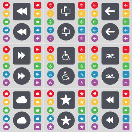 personne handicap�e: Rewind, bo�te aux lettres, fl�che gauche, handicap�s, nageur, Nuage, �toile symbole de l'ic�ne. Un vaste ensemble de plats, des boutons de couleur pour votre conception. Vector illustration Illustration
