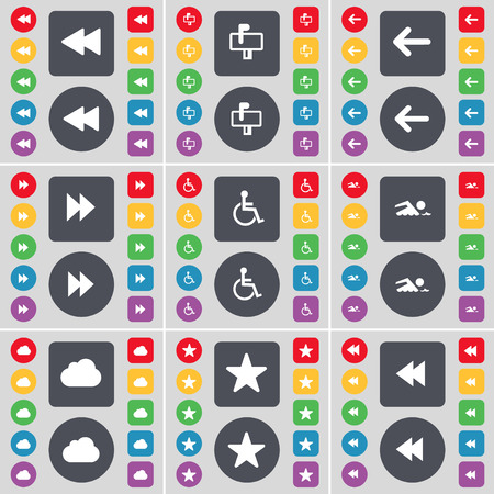 disabled person: Rewind, Mailbox, Arrow left, Disabled person, Swimmer, Cloud, Star icon symbol. A large set of flat, colored buttons for your design. Vector illustration
