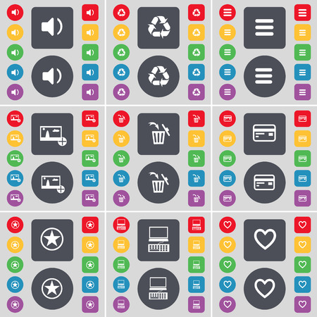 sound card: Sound, Recycling, Apps, Picture, Trash can, Credit card, Star, Laptop, Heart icon symbol. A large set of flat, colored buttons for your design. Vector illustration