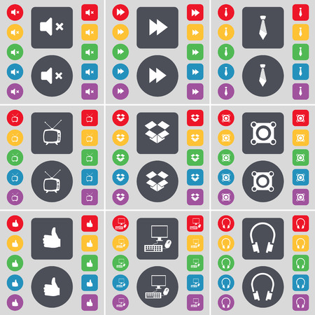retro tv: Mute, Rewind, Tie, Retro TV, Dropbox, Speaker, Like, PC, Headphones icon symbol. A large set of flat, colored buttons for your design. Vector illustration
