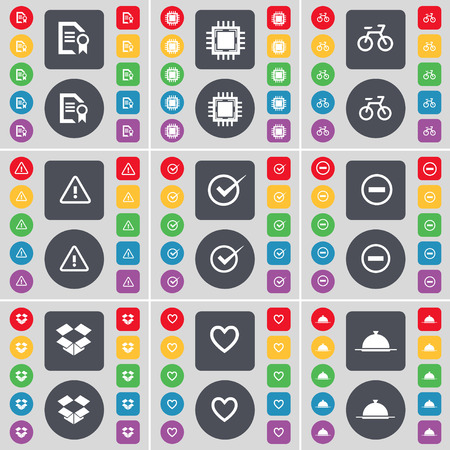 Text file, Processor, Bicycle, Warning, Tick, Minus, Dropbox, Heart, Tray icon symbol. A large set of flat, colored buttons for your design. Vector illustration