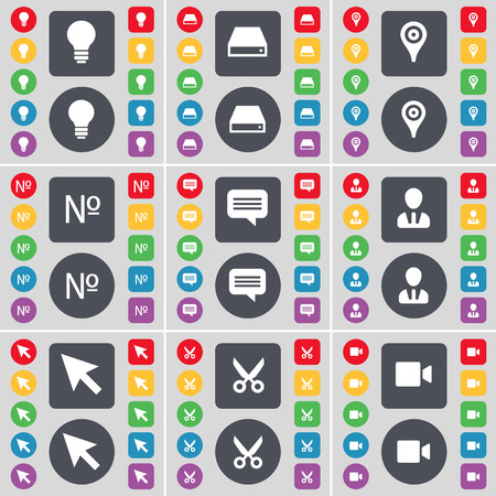 hard drive: Light bulb, Hard drive, Checkpoint, Number, Chat bubble, Avatar, Cursor, Scissors, Film camera icon symbol. A large set of flat, colored buttons for your design. Vector illustration