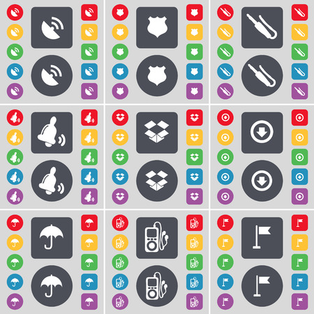 mp3 player: Satellite dish, Police badge, Microphone connector, Bell, Dropbox, Arrow down, Umbrella, MP3 player, Golf hole icon symbol. A large set of flat, colored buttons for your design. Vector illustration