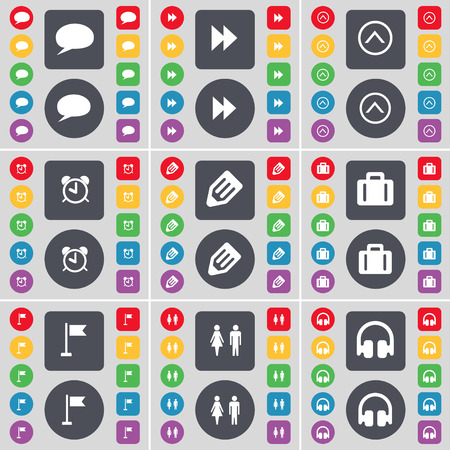 chat up: Chat bubble, Rewind, Arrow up, Alarm clock, Pencil, Suitcase, Golf hole, Silhouette, Headphones icon symbol. A large set of flat, colored buttons for your design. Vector illustration