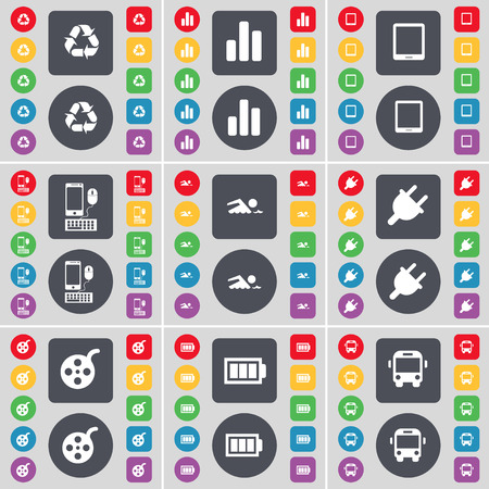 videotape: Recycling, Diagram, Tablet PC, Smartphone, Swimmer, Socket, Videotape, Battery, Bus icon symbol. A large set of flat, colored buttons for your design. Vector illustration