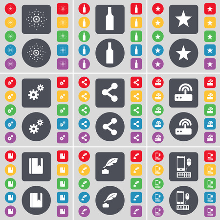 ink pot: Star, Bottle, Star, Gear, Share, Router, Dictionary, Ink pot, Smartphone icon symbol. A large set of flat, colored buttons for your design. Vector illustration