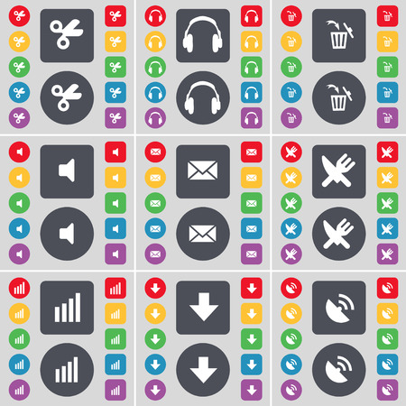arrow down: Scissors, Headphones, Trash can, Sound, Message, Fork and knife, Diagram, Arrow down, Satellite dish icon symbol. A large set of flat, colored buttons for your design. Vector illustration