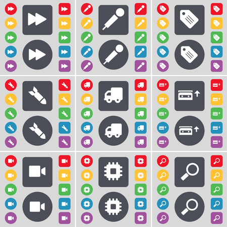 magnifying glass icon: Rewind, Microphone, Tag, Rocket, Truck, Cassette, Film camera, Processor, Magnifying glass icon symbol. A large set of flat, colored buttons for your design. Vector illustration