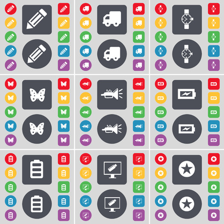 orologio da polso: Pencil, Truck, Wrist watch, Butterfly, Trumped, Charging, Battery, Monitor, Star icon symbol. A large set of flat, colored buttons for your design. Vector illustration Vettoriali