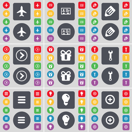arrow right: Airplane, Contact, Pencil, Arrow right, Gift, Wrench, Apps, Light bulb, Plus icon symbol. A large set of flat, colored buttons for your design. Vector illustration Vettoriali